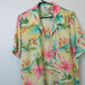 Womans Flowered Camp Tropical Shirt ALIA Size 12